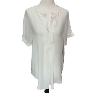 Max Studio White Short Sleeves V-neck Top M